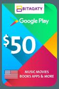 بطاقة هدية جوجل بلاي - 50 دولار أمريكي