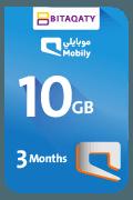 بطاقة موبايلي لشحن الإنترنت - 10 جيجا لمدة 3 أشهر