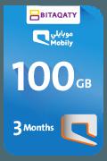بطاقة موبايلي لشحن الإنترنت - 100 جيجا لمدة 3 أشهر