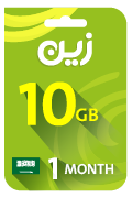 Zain Internet Recharge Card - 10 GB for 1 Month