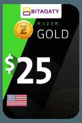 بطاقة هدية رازر جولد - 25 دولار أمريكي