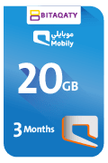 Mobily Data Recharge Card - 20 GB for 3 Months
