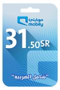 بطاقة شحن موبايلي - 31.50 ريال سعودي